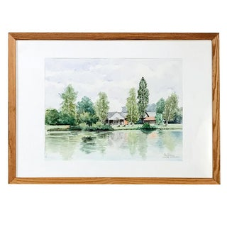 Mid-Century Framed Watercolor Painting by Pol Antonis For Sale