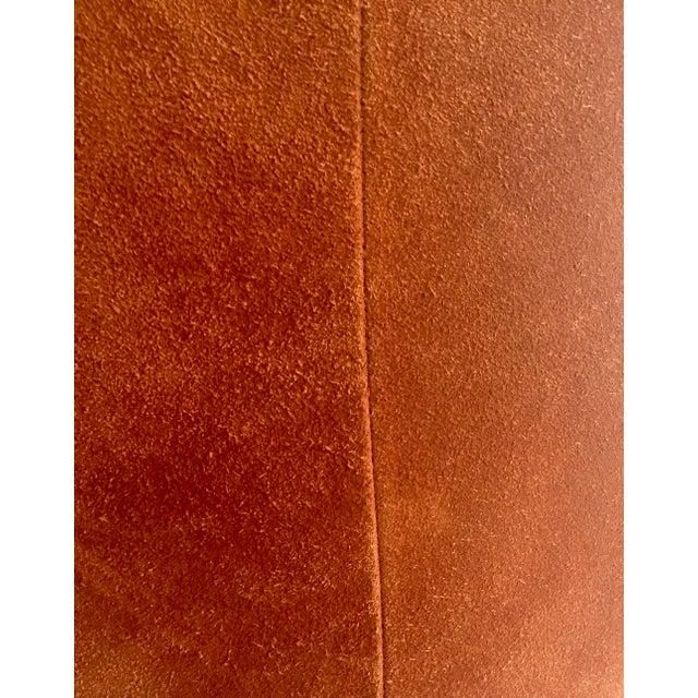 Vintage 1970s Orange Suede Stool - Image 4 of 8