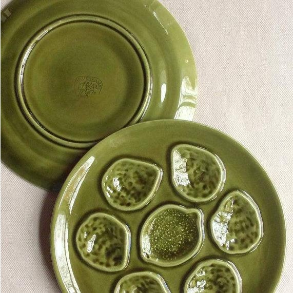 Mid-Century Modern Vintage French Faience Pottery Oyster Plates - a Pair For Sale - Image 3 of 5