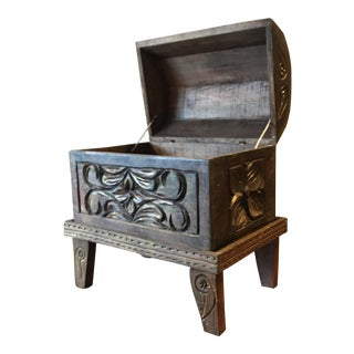 Bohemian Hand Carved Wooden Trunk on Base Stand For Sale