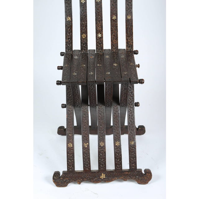 Mother-of-Pearl 19th Century Antique Syrian Wood Inlaid Folding Chair For Sale - Image 7 of 9