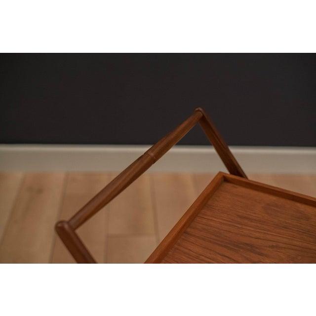 Danish Modern Teak Folding Bar Cart For Sale In Monterey, CA - Image 6 of 10