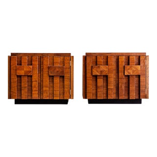 Lane Brutalist Nightstands - A Pair For Sale