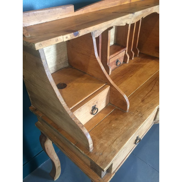 French 1970s French Country Louie XV Provincial Writing Desk With Hutch For Sale - Image 3 of 13