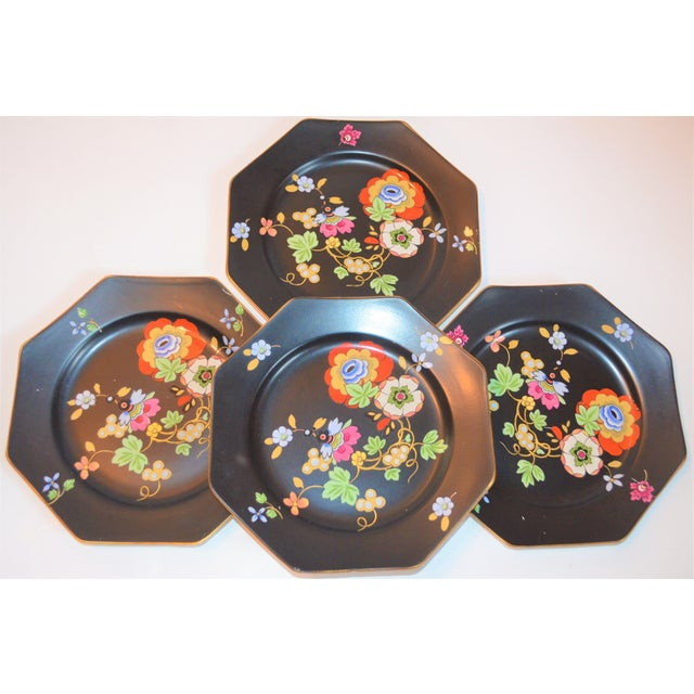 1920s Antique Art Deco Black and Floral Plates - Set of 4 For Sale In Houston - Image 6 of 12