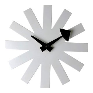 1950s Mid-Century Modern George Nelson for Howard Miller White Asterisk Clock For Sale