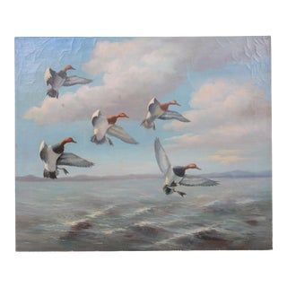 Decorative Painting of Sea and Bird, Oil Painting on Canvas, 1980s For Sale
