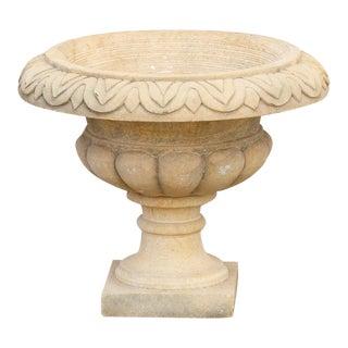 Traditional Hand-Carved Sandstone Urn Planter For Sale