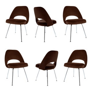 Saarinen Executive Armless Chairs in Espresso Velvet - Set of 6 For Sale