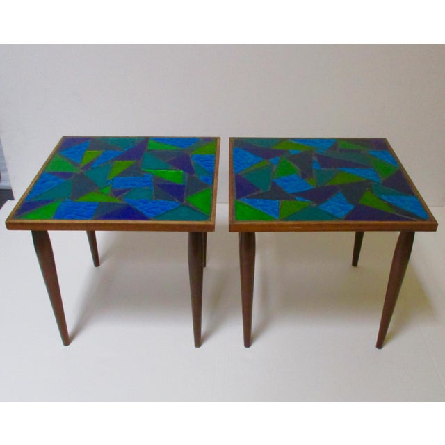 Jon Matin Mosaic Turquoise Tables - a Pair For Sale - Image 13 of 13