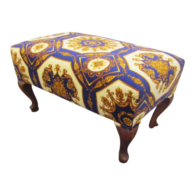 1990s Contemporary Colorful Upholstered Ottoman with Carved Cabriole Legs For Sale