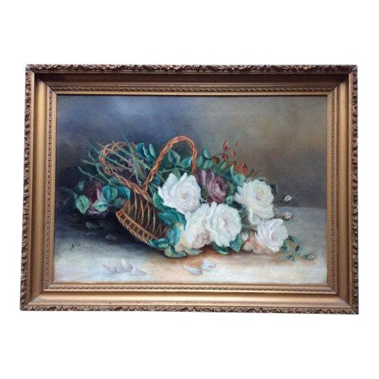 Antique Basket of White Roses Still Life Oil on Canvas For Sale