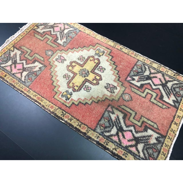 Art Deco Red Turkish Handmade Faded Rug For Sale - Image 3 of 6