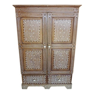 Floral Bone Inlaid Armoire For Sale