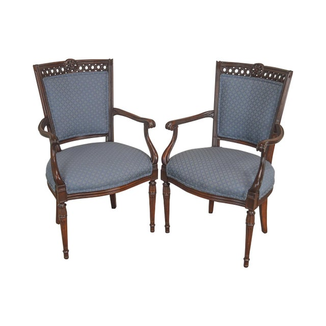 Regency Style Vintage Pair of Carved Mahogany Blue Upholstered Arm Chairs For Sale - Image 13 of 13