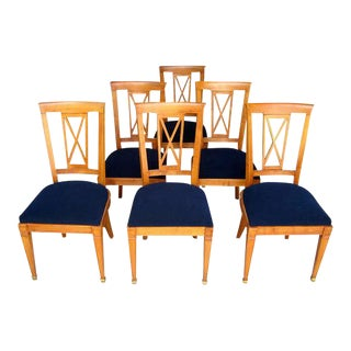 Set of 6 French Cherrywood Neoclassical Dining Chairs Attributed to Baptistin Spade For Sale