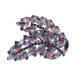 Amethyst & Lavender Bi-Color Crystal Brooch, 1950s For Sale