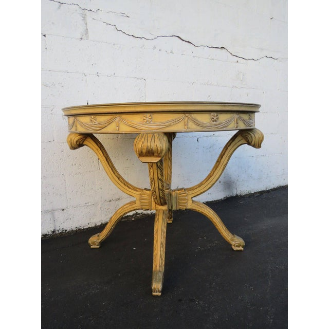 French Painted Heavy Carved Marble Top Large Center Table For Sale - Image 9 of 11