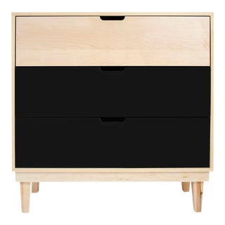 Nico & Yeye Kabano Modern Kids 3 Drawer Dresser Maple Black For Sale
