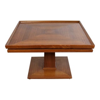 Erwin Lambeth Mid Century Walnut Square Pedestal Side End or Lamp Table For Sale