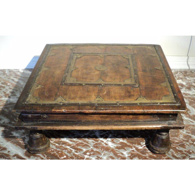 Antique Primitive Indian Wood & Brass Small Table - Image 2 of 9
