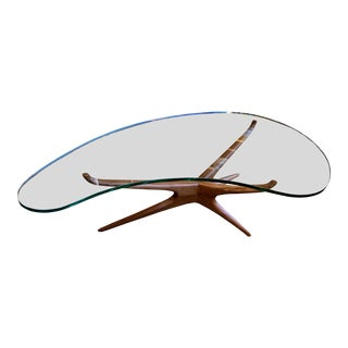 Vladimir Kagan Bimorphic Glass Top Cocktail Table For Sale