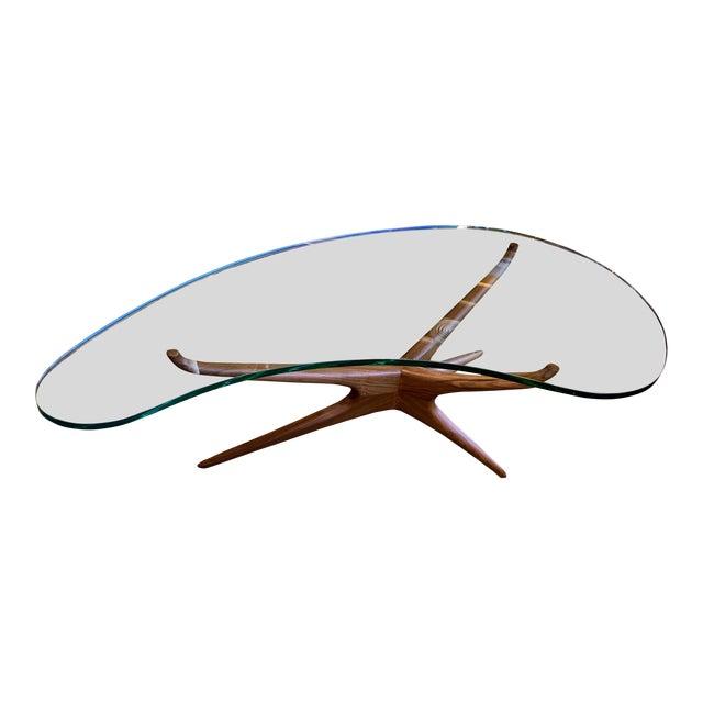 Vladimir Kagan Bimorphic Glass Top Cocktail Table For Sale