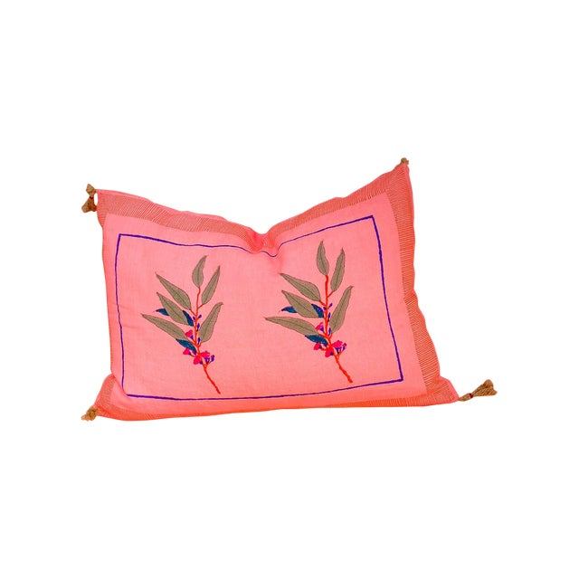 Eli Handwoven & Block-printed Linen Pillow with Insert For Sale