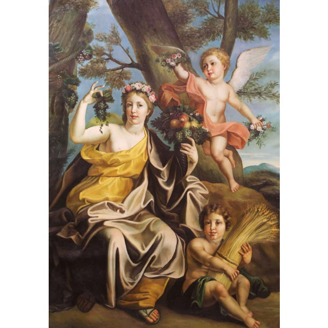 French Large Mid-Century French Allegory Oil on Canvas Painting in Carved Frame For Sale - Image 3 of 10