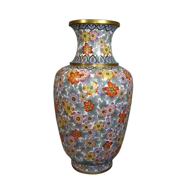 Large Vintage Chinese Millefleur Cloisonne Vase For Sale