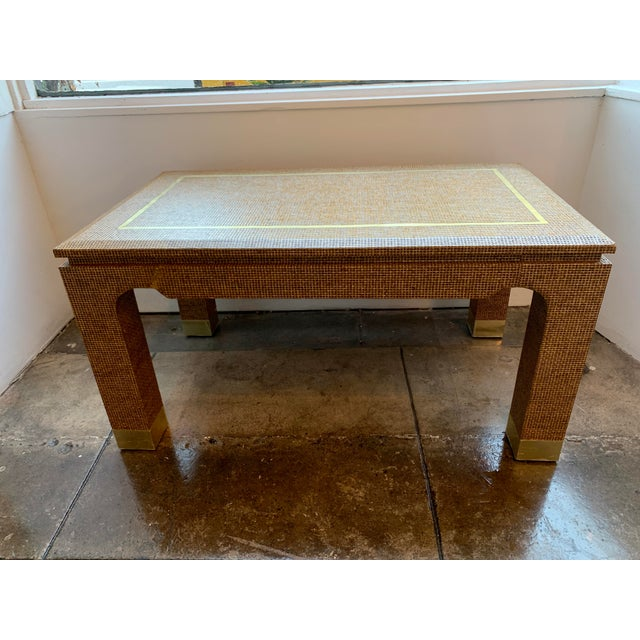 1970's Raffia Covered Side Table With Brass For Sale - Image 10 of 10