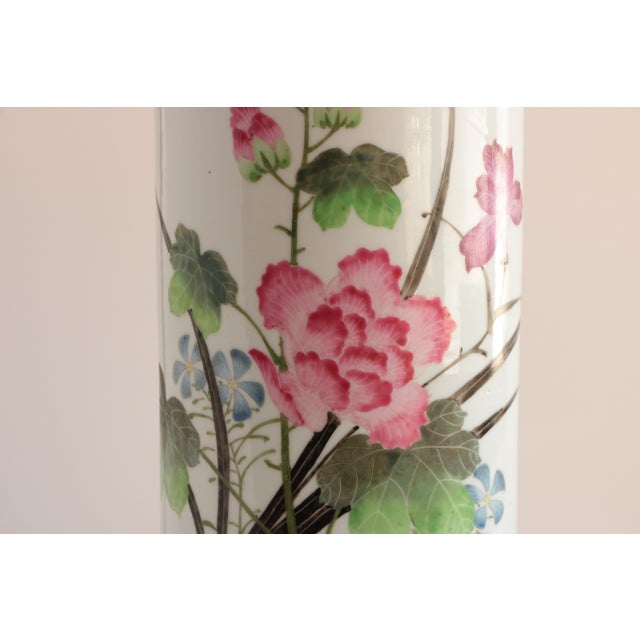 Asian Chinese Porcelain Hat Stand Table Lamp For Sale - Image 3 of 8