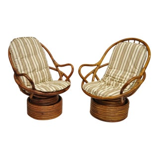 His & Hers Bent Bamboo Swivel Rocking Lounge Chairs - a Pair For Sale