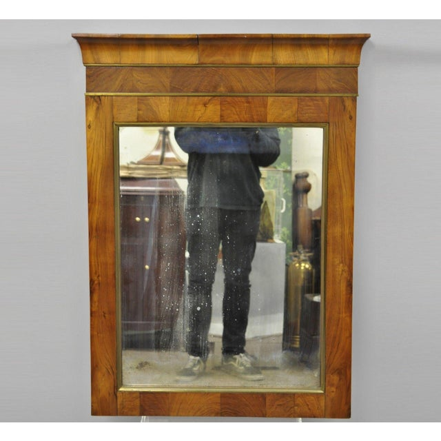 19th Century Vintage American Empire Crotch Mahogany Looking Glass Wall Mirror For Sale - Image 12 of 12