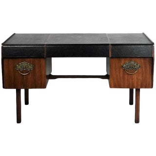 Bert England for John Widdicomb Leather Top Walnut Stilted Desk With Brass Pulls For Sale