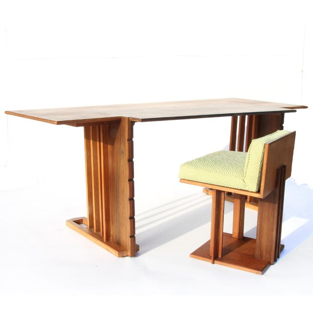 Very rare Unison desk and chair by Frank Lloyd Wright designed for the second owners of The Derby House in 1945. Desk is...