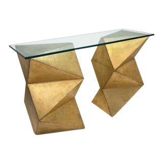 Abstract Geometric Gilt Wood Console Table With Glass Top Circa, France, 1970s For Sale