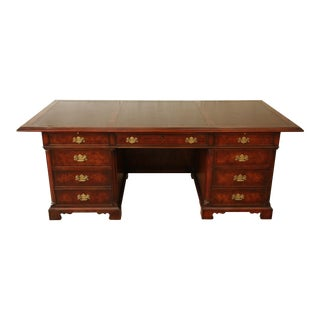 John Widdicomb Burled Mahogany Leather Top Executive Desk For Sale