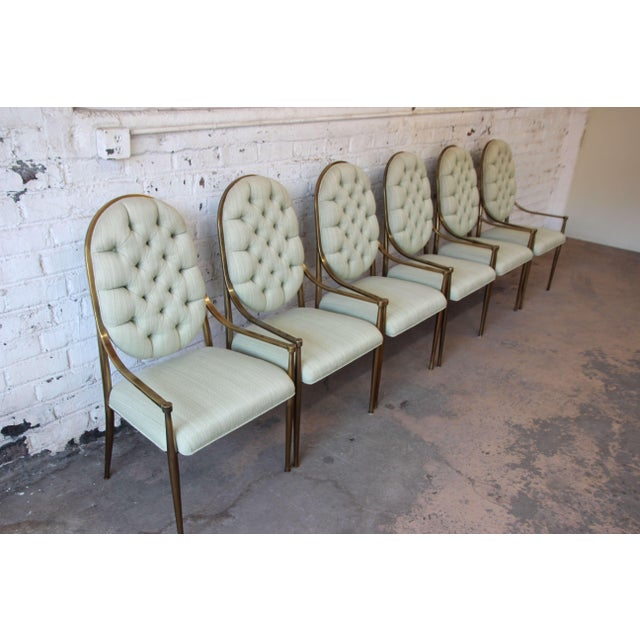 1970s Vintage Mastercraft Brass Regency Dining Chairs - Set of 6 - Image 3 of 11