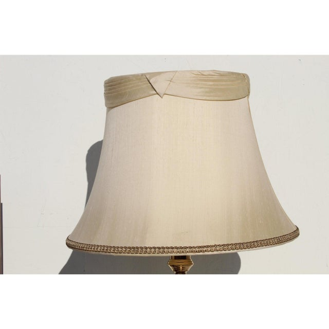 Metal 1960s Hollywood Regency Brass Floor Lamp With Shade For Sale - Image 7 of 10