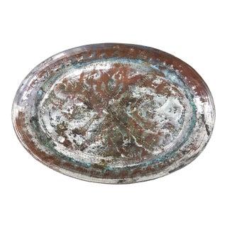 Vintage Hammered Indian Copper Dish For Sale