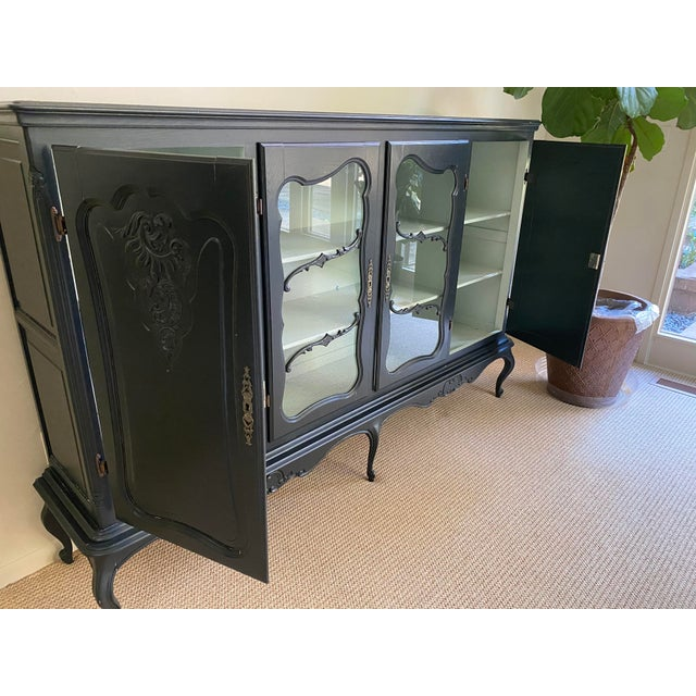 20th Century French Country Dark Gray Hutch Buffet For Sale - Image 4 of 10