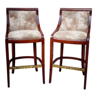 Regency Style Upholstered Barstools - A Pair For Sale