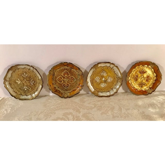 Nice set of Italian Gold Florentine Coasters. Each of the four is a little different. Unusual set! Great to pair with your...
