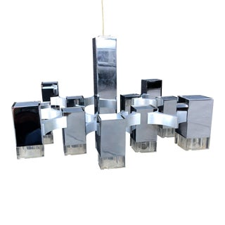 1970s Gaetano Sciolari Cubic Chandelier for Lightolier For Sale