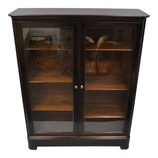 """Antique Traditional Mahogany and Glass 6-Shelf Two Door Bookcase - 55"""""""