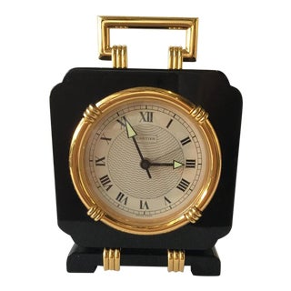Cartier Marques et Modele Deposes Black Onyx Quartz Travel Clock For Sale