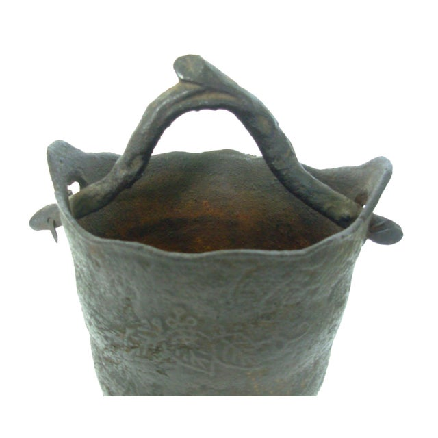 Vintage Wrought Iron Vase with Branch Handle - Image 3 of 6