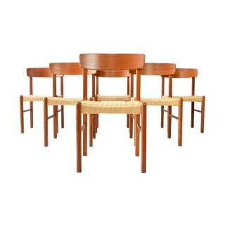Mid-Century Teak & Rope Cord Dining Chairs - Set of Six For Sale