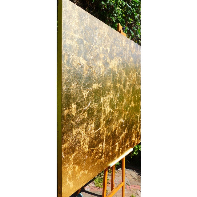 """Monumental, Contemporary """"Gold"""" Gold Leaf Canvas by Martha Holden For Sale - Image 4 of 9"""